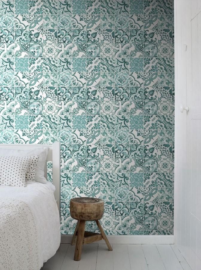 Papel pintado mosaico de azulejos árabes estilo marroquí verde y blanco Casablanca Secret 676992