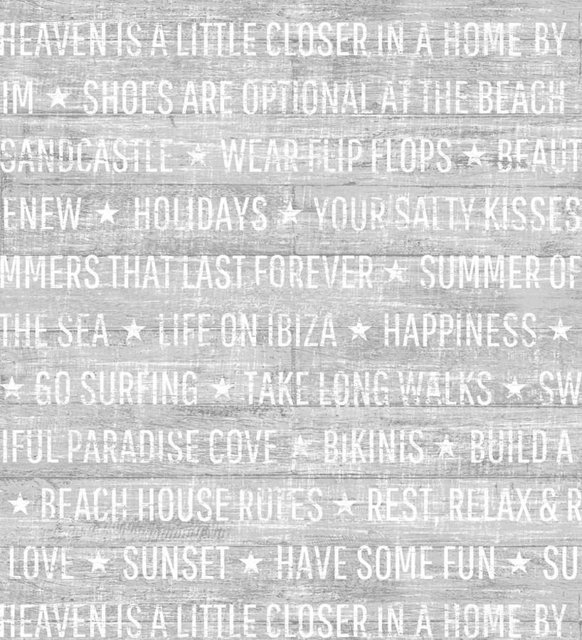 Papel pintado palabras positivas fondo gris claro Life on Ibiza 676995