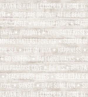 Papel pintado palabras positivas fondo beige claro Life on Ibiza 676996