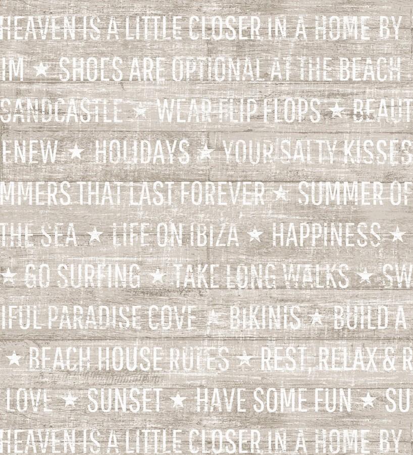 Papel pintado palabras positivas fondo pardo Life on Ibiza 676997