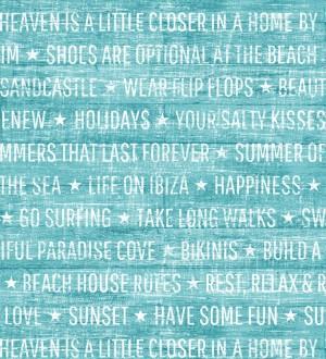 Papel pintado Papel pintado palabras positivas turquesa oscuro Life on Ibiza 676999