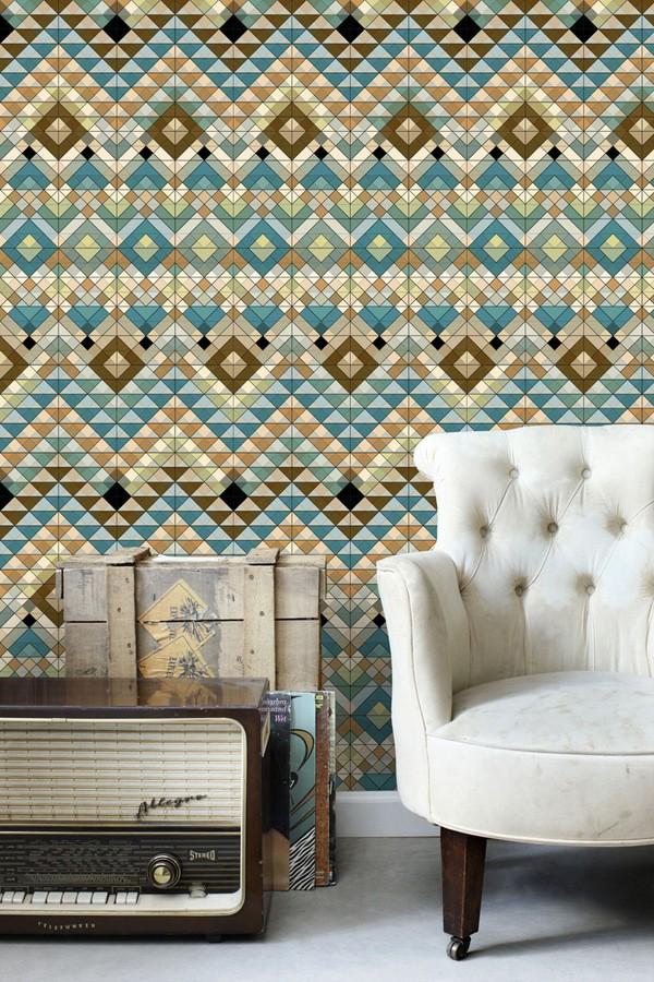 Papel pintado geométrico tonos azules y marrones Sidonia Imperial 677007