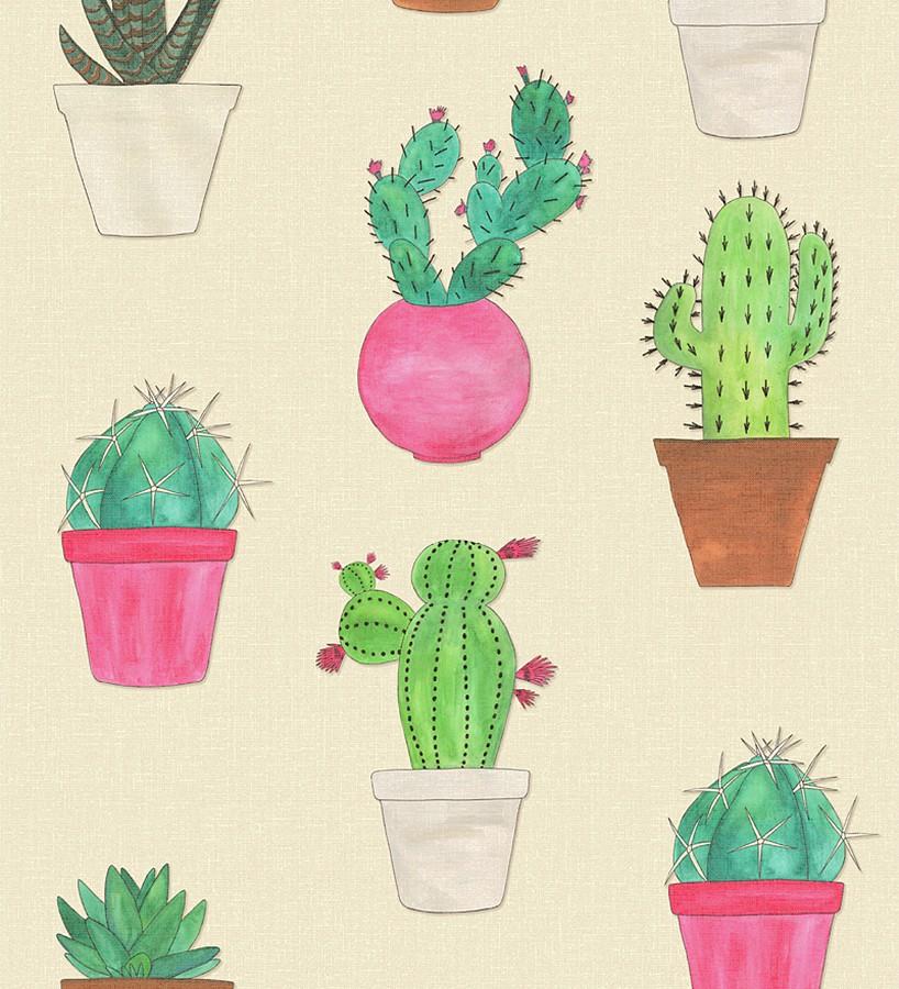 Papel pintado macetas de cactus Western Plants 677010