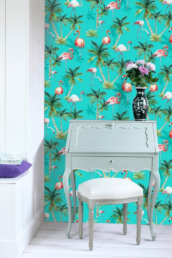 Papel pintado de flamencos y palmeras estilo tropical Caribbean Island 677015
