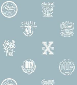 Papel pintado con emblemas universatarios fondo azulado Champion Spirit 677022