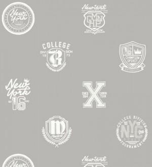 Papel pintado con emblemas universitarios fondo gris claro Champion Spirit 677023