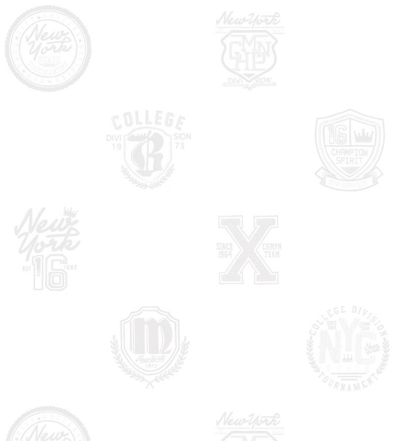 Papel pintado con emblemas universitarios fondo blanco Champion Spirit 677024