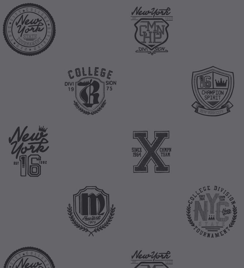 Papel pintado con emblemas universitarios fondo gris oscuro Champion Spirit 677025