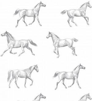Papel pintado caballos de Glasgow fondo blanco Glasgow Horses 677026