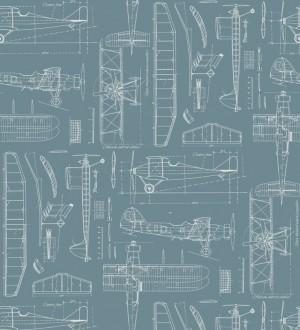 Papel pintado planos de avión fondo azul grisáceo Airplane Design 677028