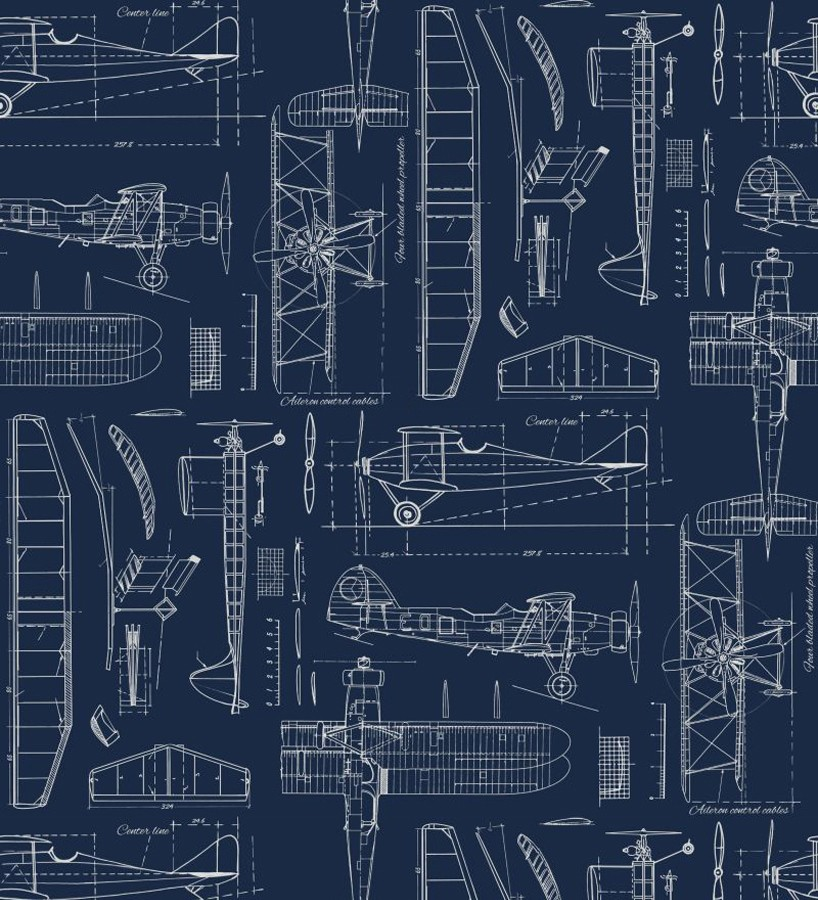 Papel pintado planos de avión fondo azul marino Airplane Design 677029