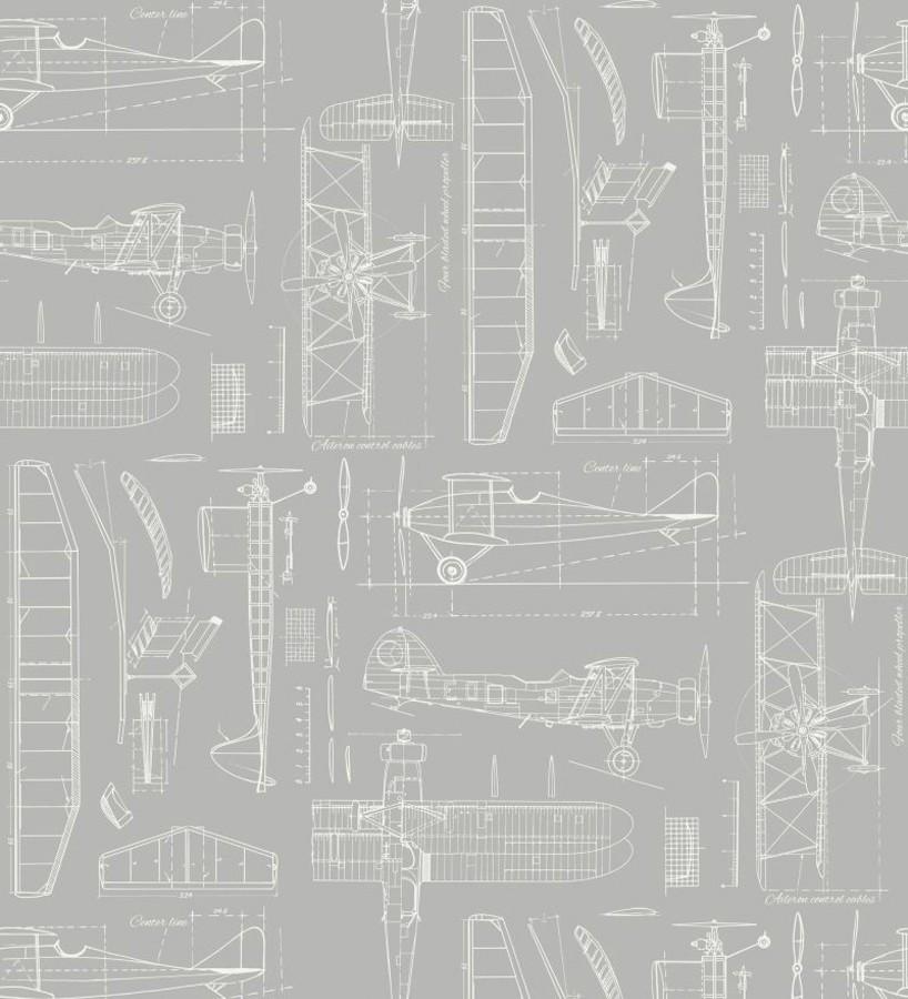 Papel pintado planos de avión fondo gris claro Airplane Design 677030