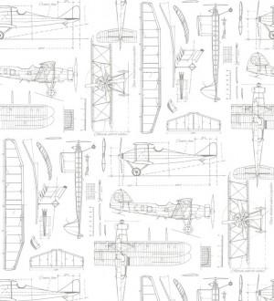 Papel pintado planos de avión fondo blanco Airplane Design 677031