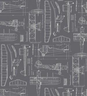 Papel pintado planos de avión fondo gris oscuro Airplane Design 677032