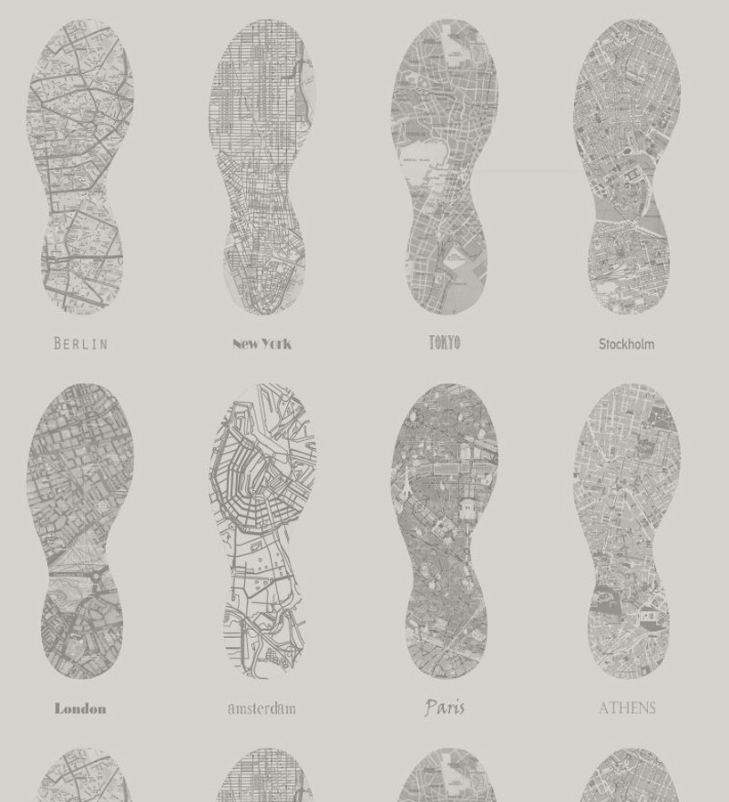 Papel pintado mapas de huellas fondo gris World Footprints 677038