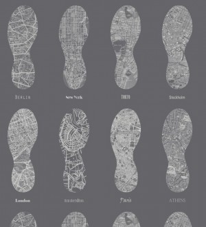 Papel pintado mapas de huellas fondo gris oscuro World Footprints 677039