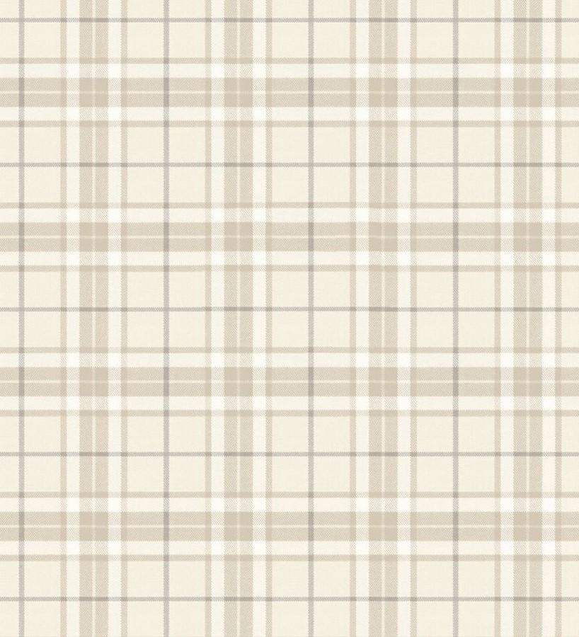 Papel pintado cuadros escoceses tonos beige Truman 677044