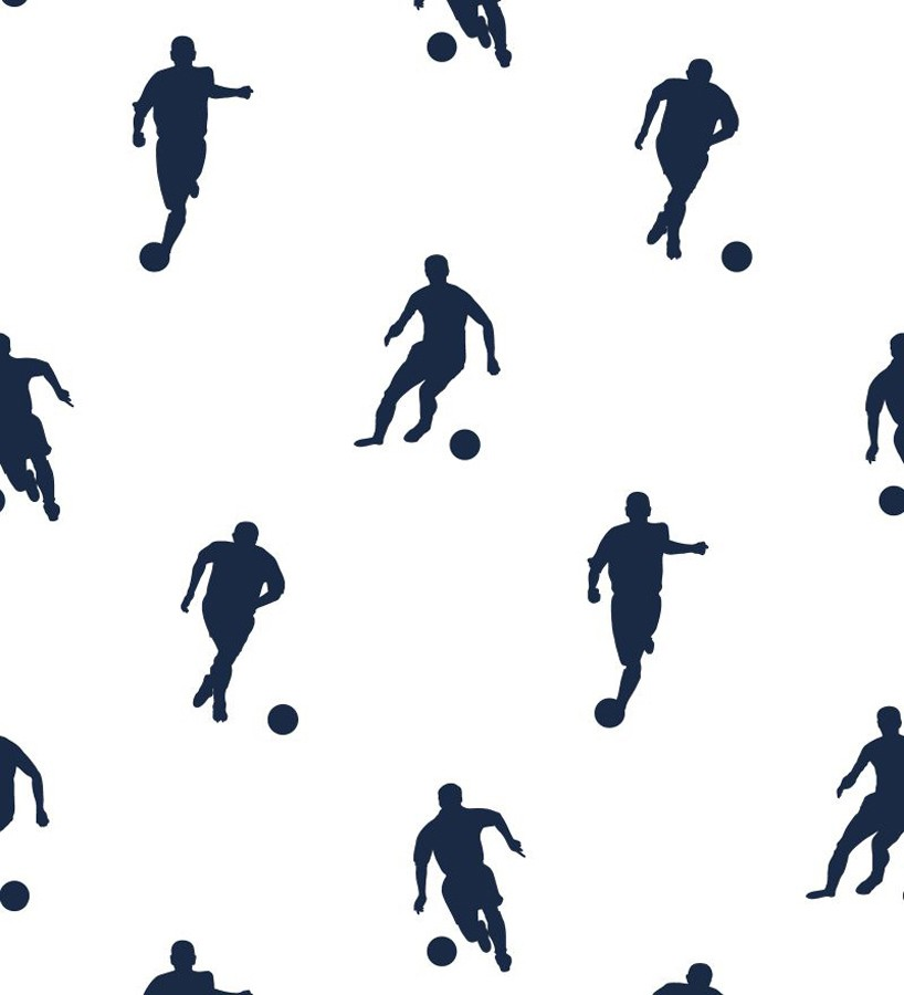 Papel pintado siluetas futbolistas azul marino fondo blanco Bristol Players 677049
