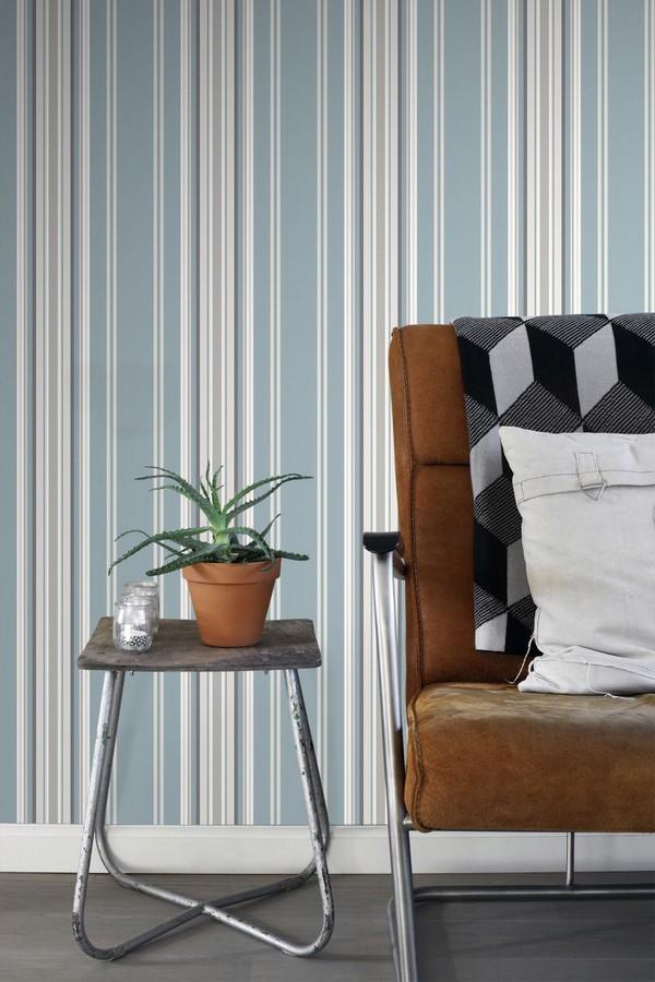 Papel pintado rayas desiguales celeste y gris Raya Goodman 677055