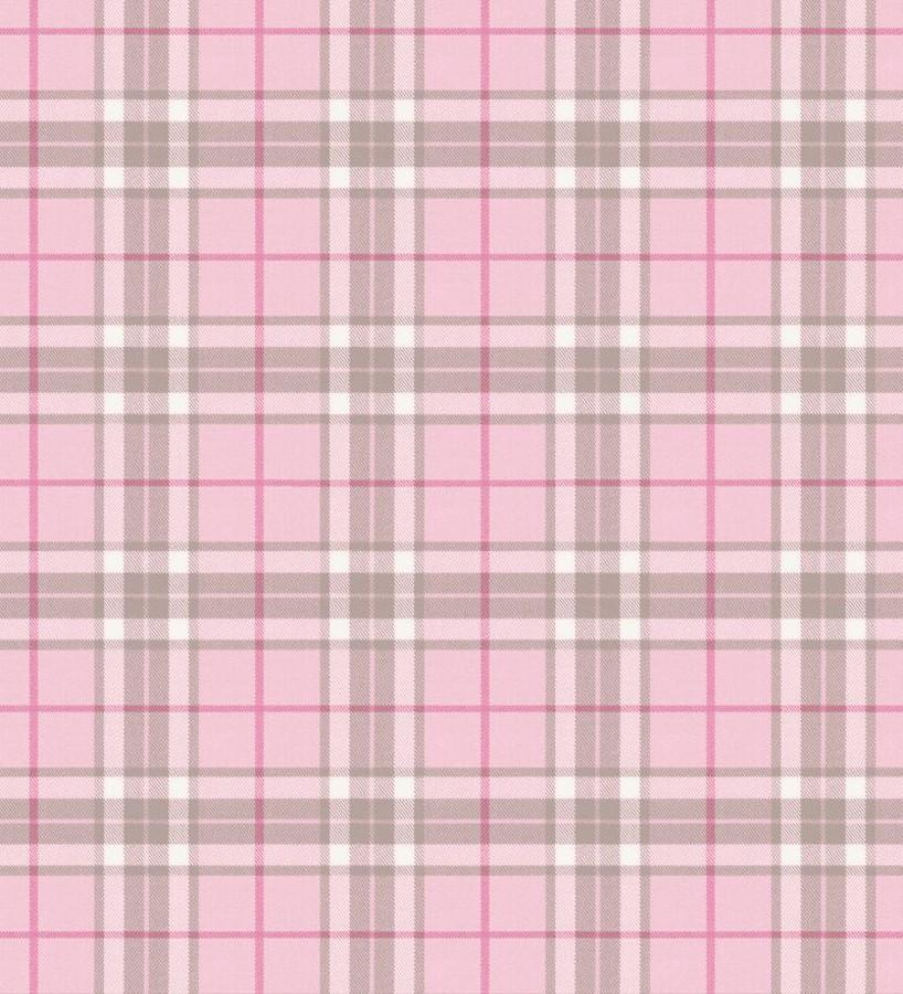 Papel pintado cuadros escoceses tonos rosas Truman 677056