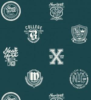 Papel pintado con emblemas universitarios fondo verde oscuro Champion Spirit 677073