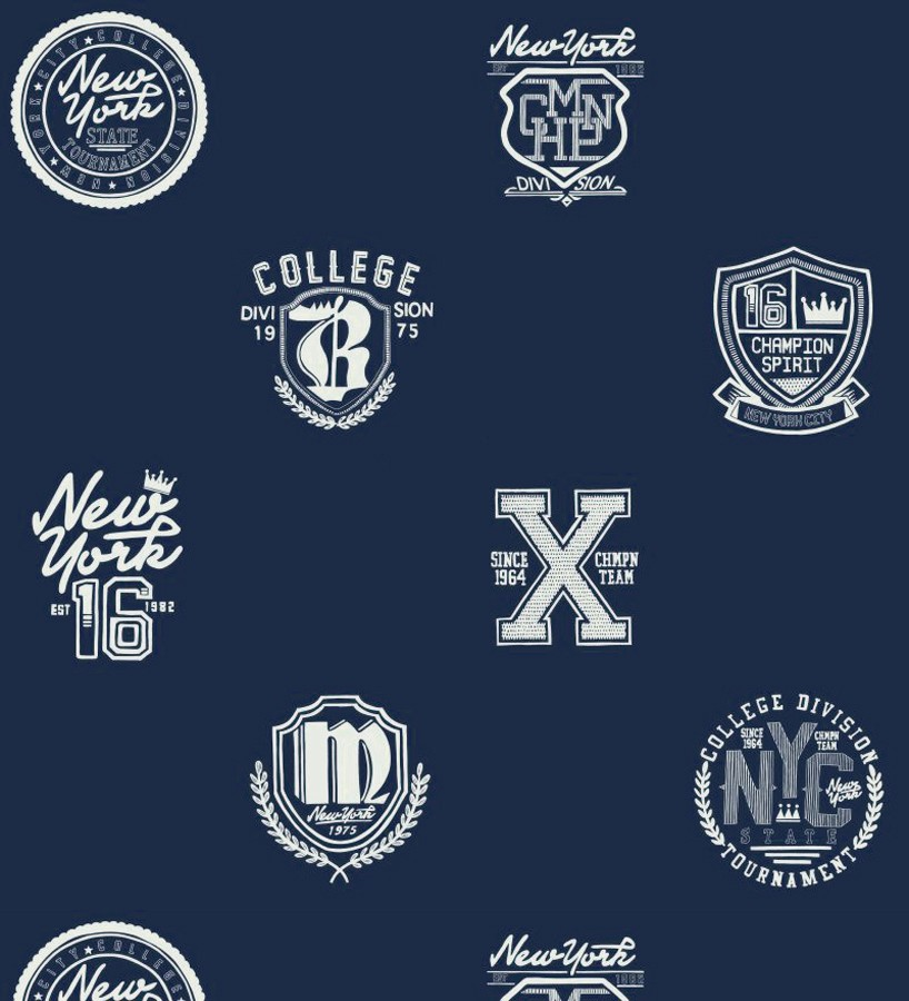Papel pintado con emblemas universitarios fondo azul marino Champion Spirit 677074