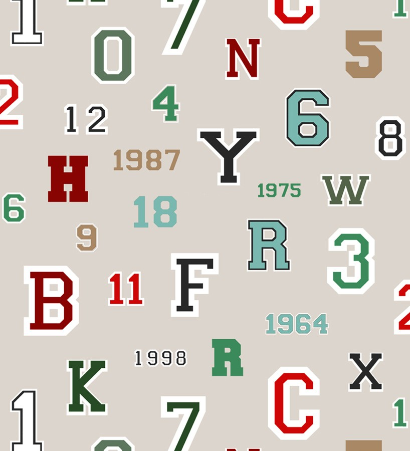 Papel pintado letras y números de equipos deportivos Team Numbers 677082