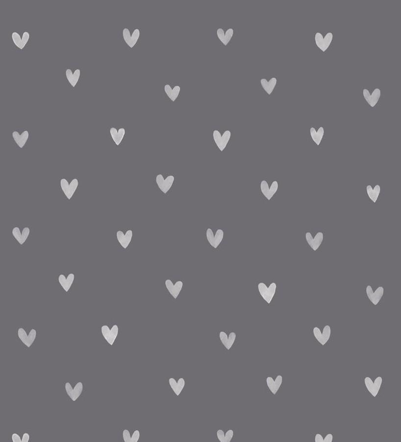 Papel pintado corazones blancos fondo gris oscuro Magic Hearts 677198
