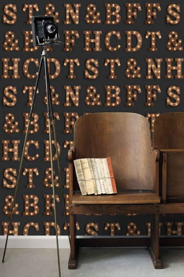 Papel pintado letras luminosas Modern Torch Letters 677225
