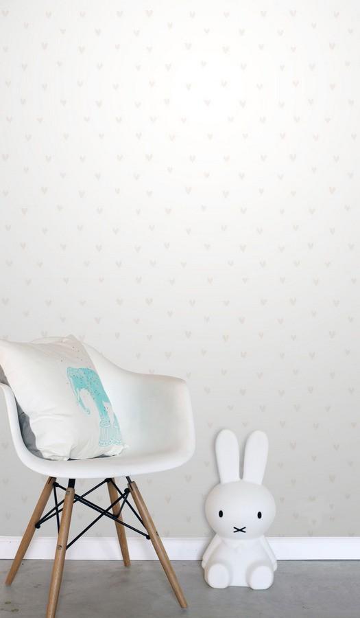 Papel pintado corazones beige fondo blanco Magic Hearts 677237