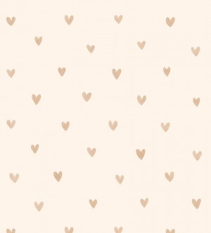 Papel pintado corazones marrones fondo beige Magic Hearts 677238