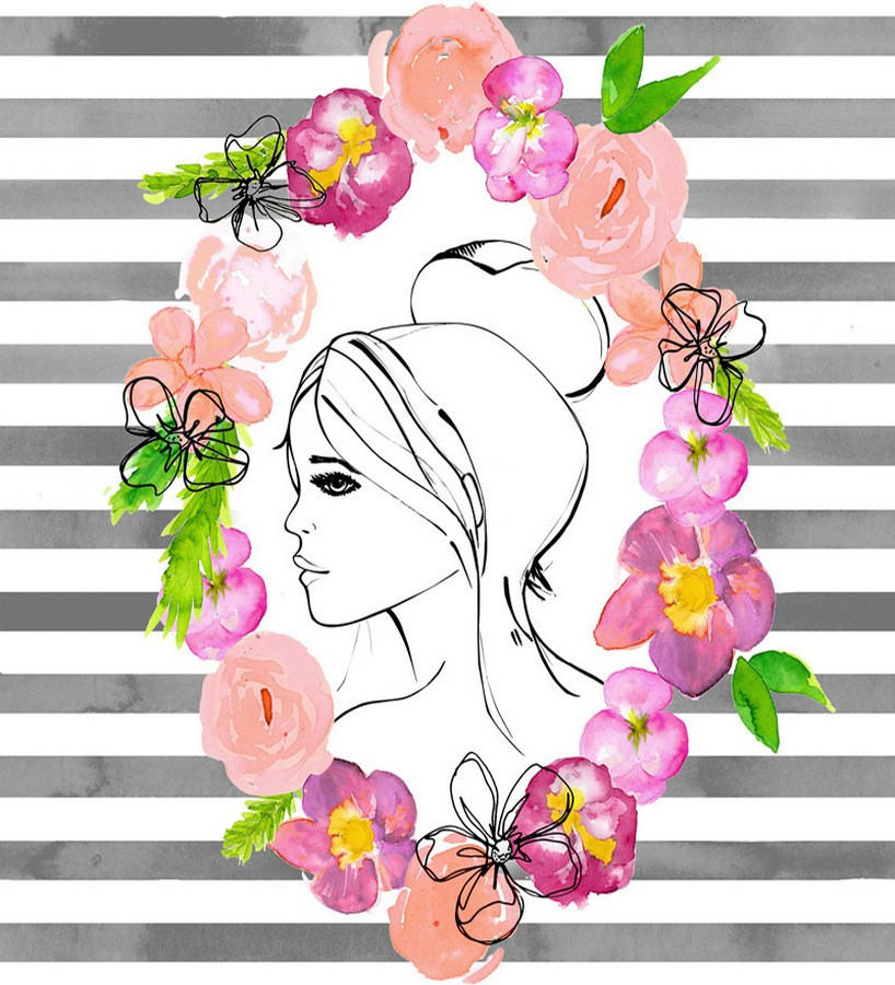 Papel pintado silueta cara de mujer sobre fondo de rayas Villa Laura 677246