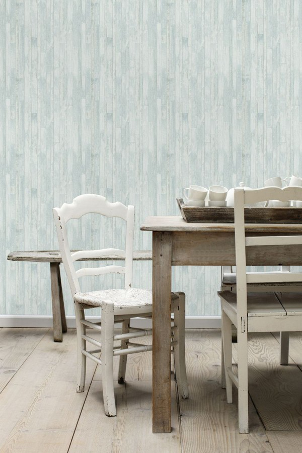 Papel pintado listones de madera pequeños estilo nórdico Algarve Beach 677256