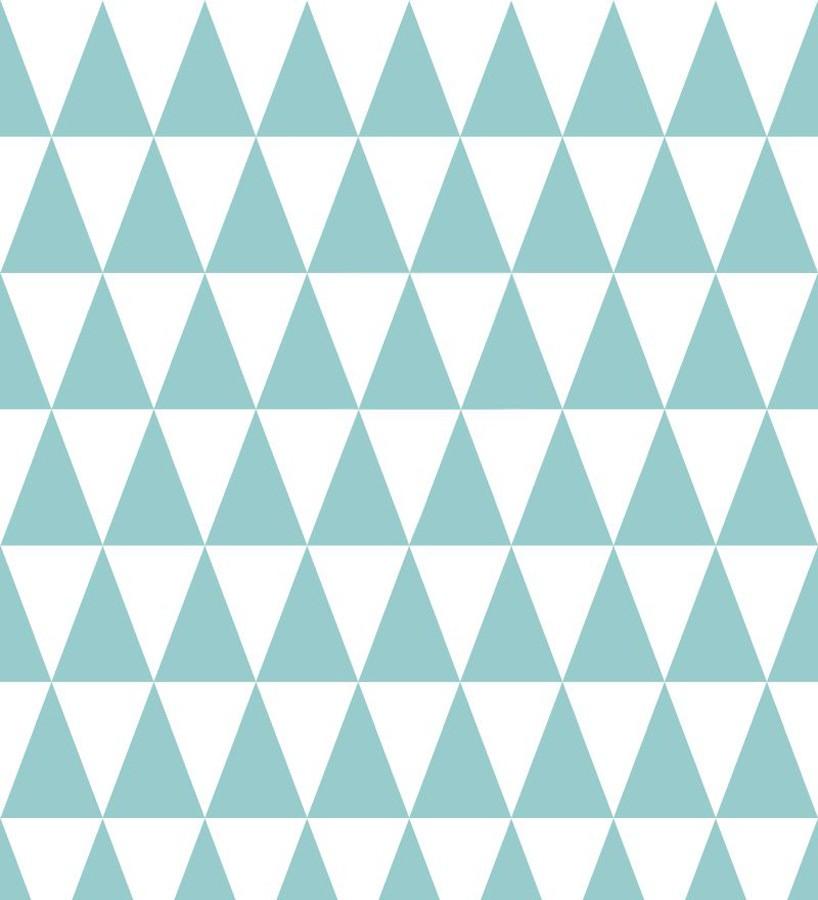Papel pintado triángulos turquesa oscuro y blanco estilo nórdico Nordem Mountains 677262
