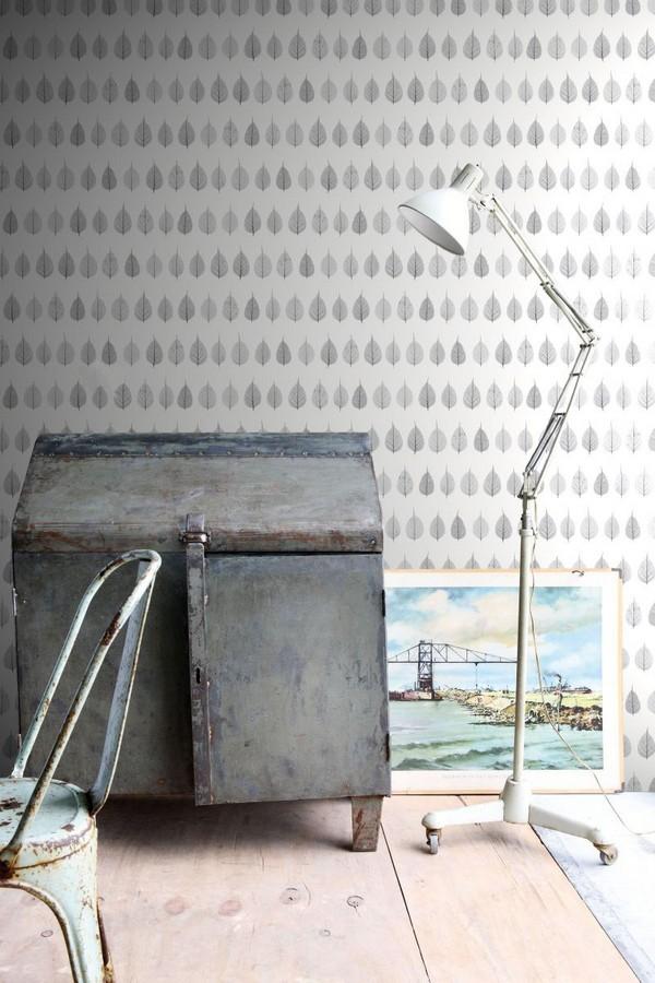 Papel pintado hojas pequeñas grises fondo blanco estilo minimalista Danish Fall 677264