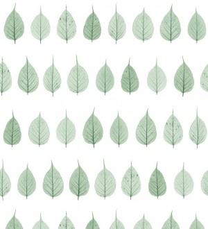 Papel pintado hojas pequeñas verdes fondo blanco estilo minimalista Danish Fall 677265