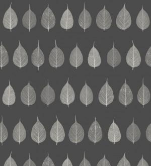 Papel pintado hojas pequeñas grises fondo negro estilo minimalista Danish Fall 677267