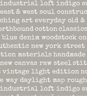 Papel pintado palabras moda fondo gris Vintage Edition 677274