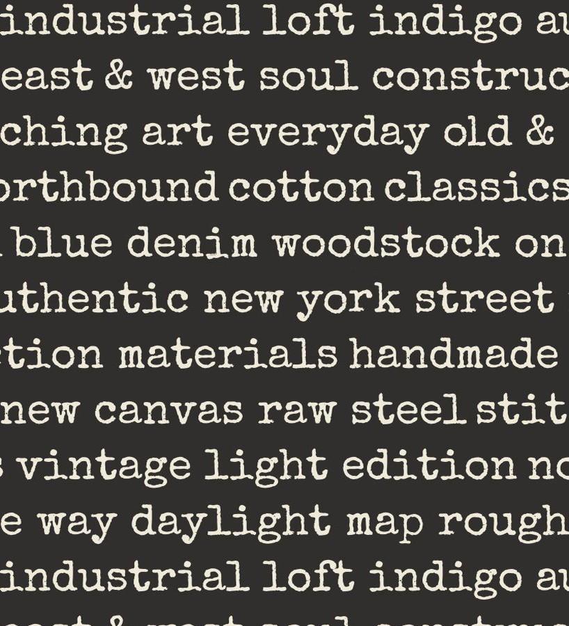 Papel pintado palabras moda fondo negro Vintage Edition 677275