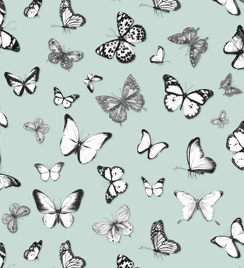 Papel pintado mariposas blancas y negras con fondo verde claro Natural Dance 677278