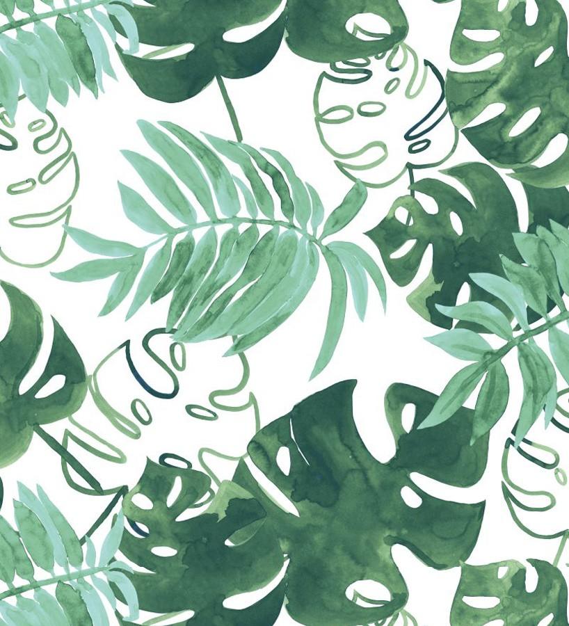 Papel pintado hojas tropicales fondo blanco Paramaribo 677288