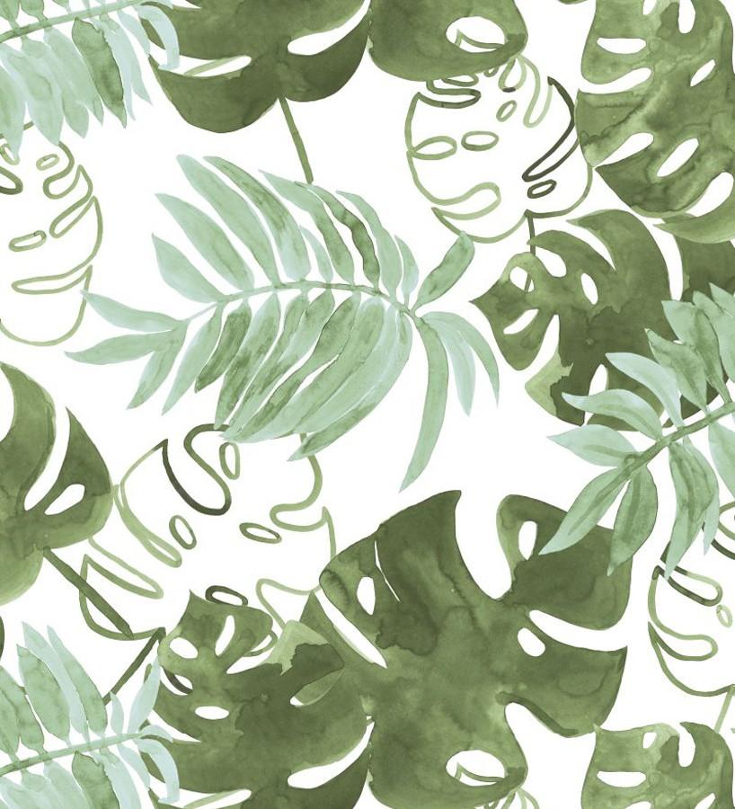 Papel pintado hojas tropicales fondo blanco Paramaribo 677290