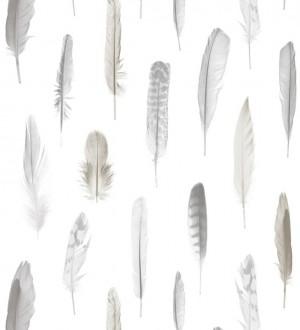 Papel pintado plumas ocres fondo blanco Bohemian Rain 677295