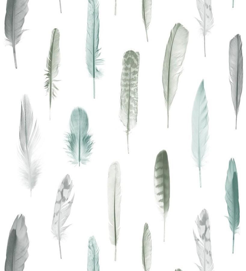 Papel pintado plumas tonos grises y verdes fondo blanco Bohemian Rain 677296