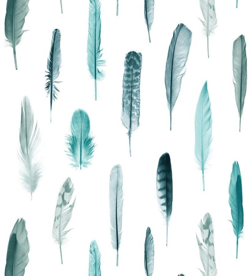 Papel pintado plumas tonos azules fondo blanco Bohemian Rain 677297