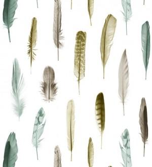 Papel pintado plumas tonos ocres y verdes fondo blanco Bohemian Rain 677298