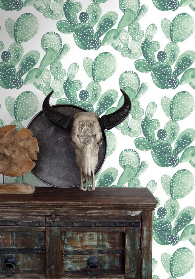 Papel pintado cactus en acuarela Sonora Cactus 677305