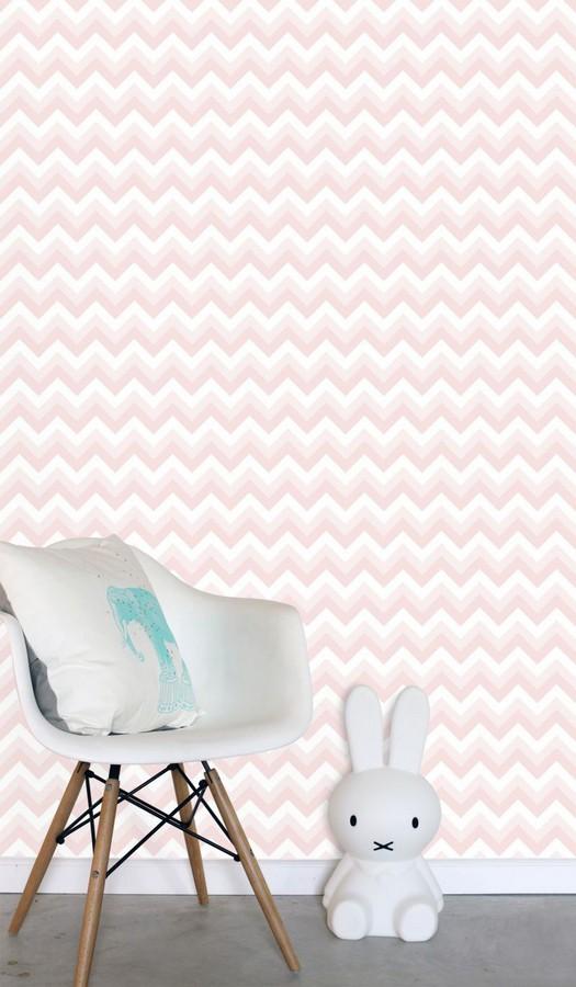 Papel pintado rayas zigzag rosa y blanco Ursa 677332