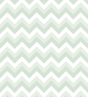 Papel pintado rayas zigzag verde y blanco Ursa 677333