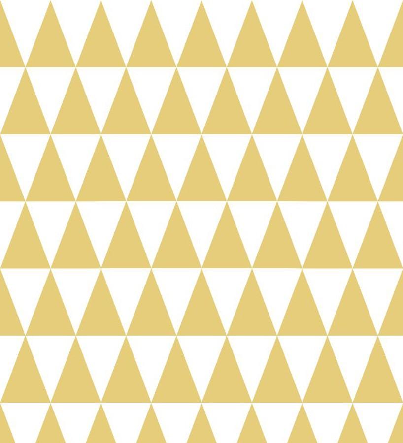 Papel pintado triángulos mostaza y blanco estilo nórdico Nordem Mountains 677337